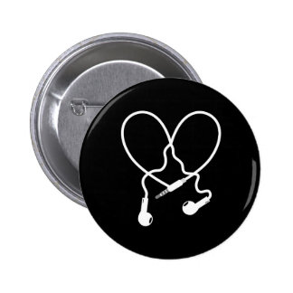 music love headphones 2 inch round button
