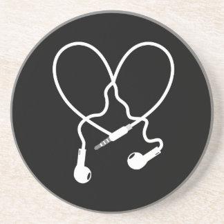 music love headphones drink coasters
