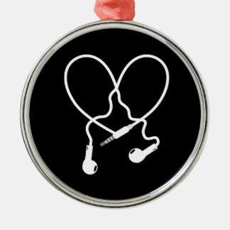 music love headphones metal ornament