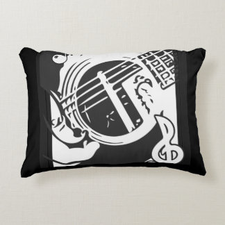 Music Lover Guitar Playing black and white Accent Pillow