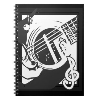 Music Lover Guitar Playing black and white Notebook