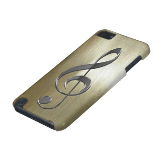 Music-lover s Silver Treble Clef on Gold iPod Touch (5th Generation) Case