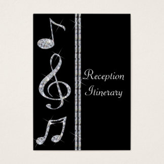 Music Lovers Diamond Shimmer On Black Wedding Business Card