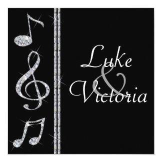 Music Lovers Diamond Shimmer On Black Wedding Card