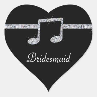 Music Lovers Diamond Shimmer On Black Wedding Heart Sticker