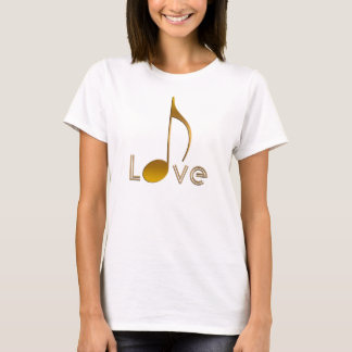 Music Lovers I Love Music Note Gold Black T-Shirt