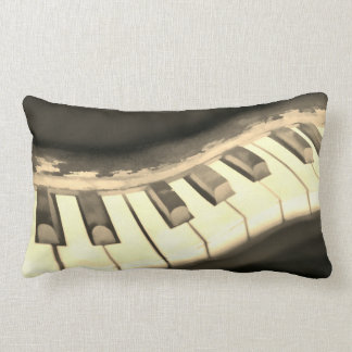 music lovers pillow piano keyboard art in sepia