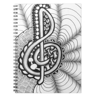 Music Lovers Treble Clef Design Notebooks