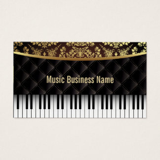Music Luxury Diamond Pattern Piano Lessons Business Card