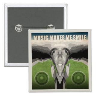 Music Makes Me Smile 2 Inch Square Button