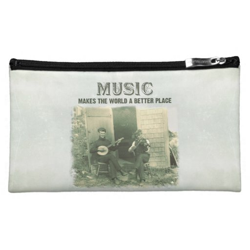 Music makes the world a better place vintage photo makeup bags