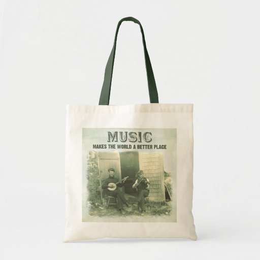 Music makes the world a better place vintage photo canvas bag