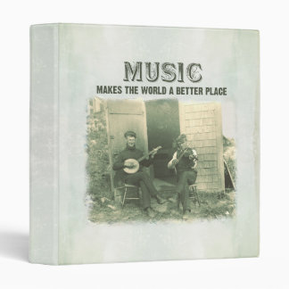 Music makes the world a better place vintage photo binder