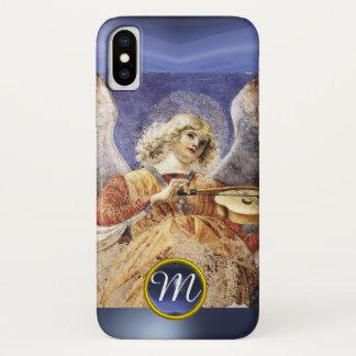 MUSIC MAKING ANGEL , Blue Sapphire Monogram iPhone X Case