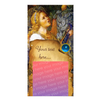 MUSIC MAKING ANGEL CHRISTMAS PARCHMENT Blue Gem Photo Card
