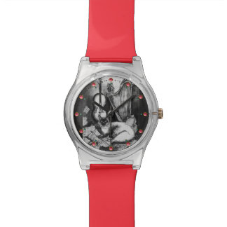 MUSIC MAKING CAT WITH OWL Black White Red Watch