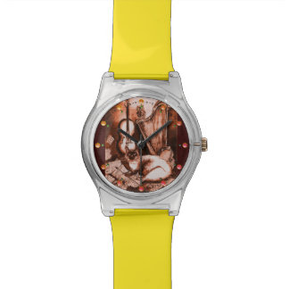 MUSIC MAKING CAT WITH OWL Brown White Wristwatch