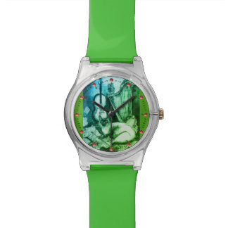 MUSIC MAKING CAT WITH OWL Green Wrist Watches