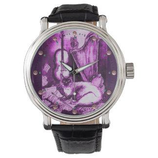 MUSIC MAKING CAT WITH OWL ,Purple White Wrist Watch