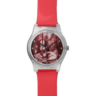 MUSIC MAKING CAT WITH OWL ,Red White Wrist Watch