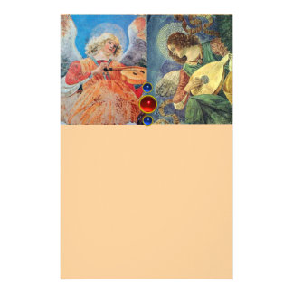 MUSIC MAKING CHRISTMAS ANGELS ,Blue Peach Personalized Stationery