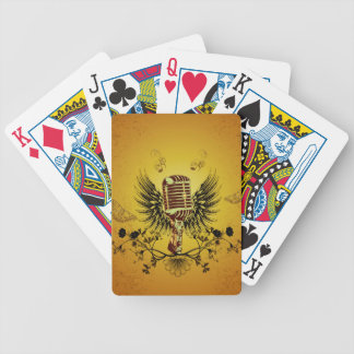 Music, microphone with wings bicycle playing cards