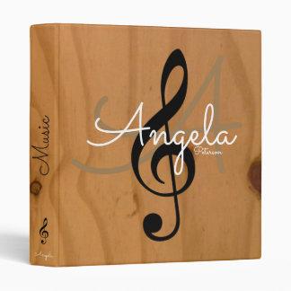 music monogram on image of wood, my songs binders