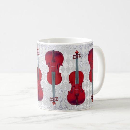 Music Mug Violin Silver Grey Sparkly Texture