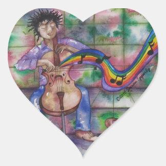 Music Musician Cello Cellist Rainbow Watercolor Heart Sticker