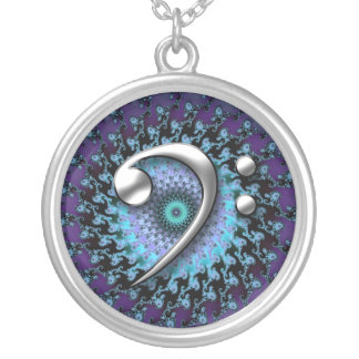 Music Necklace ~ Chrome Bass Clef on Fractal