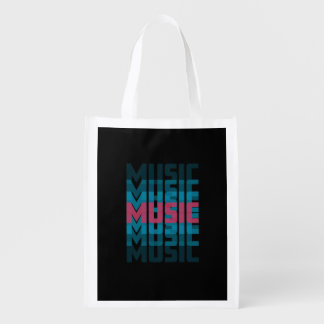 Music neon text market tote