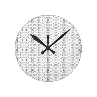 Music Nordic Knit Text ASCII Art Black and White Round Clock