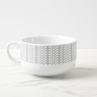 Music Nordic Knit Text ASCII Art Black and White Soup Mug