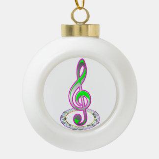 Music Note Ceramic Ball Ornament