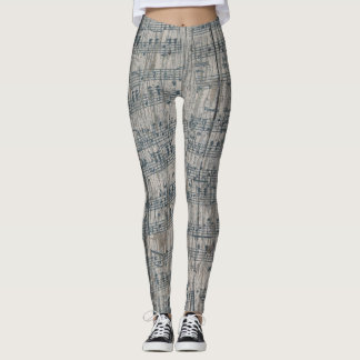 music note christmas winter rustic leggings