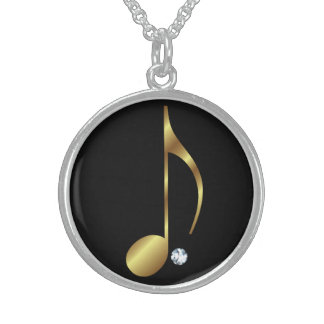 Music Note Diamond Necklace - Golden Notes