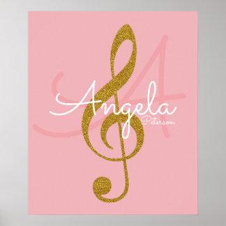 music note (golden treble clef), monogram poster