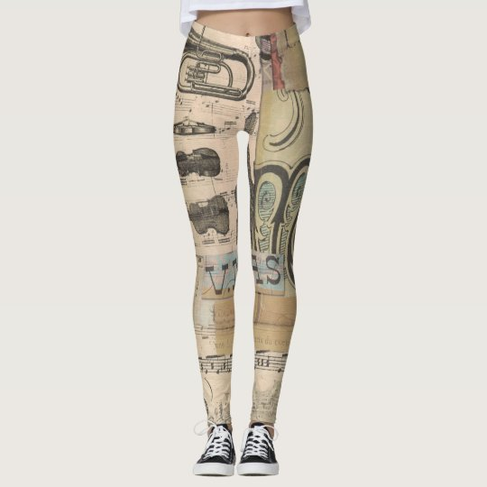 Music note Guitar Tuba Violin Leggings