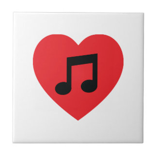 Music Note Heart Ceramic Tile