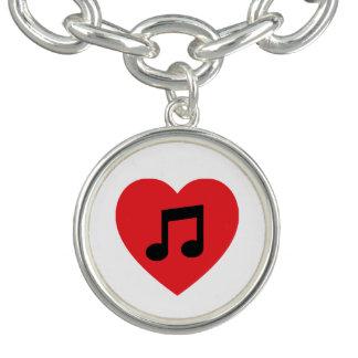 Music Note Heart Charm Bracelet