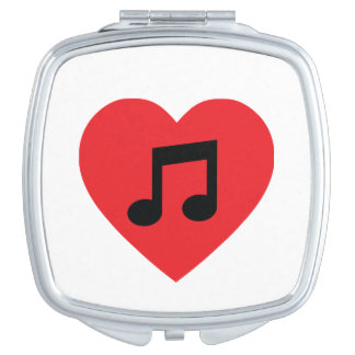 Music Note Heart Compact Mirror
