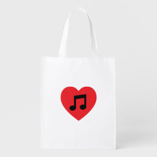Music Note Heart Reusable Bag Reusable Grocery Bags