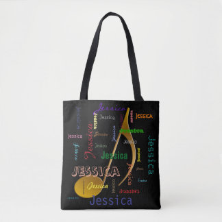 Music Note Monogram Colorful Repeating Names Tote Bag