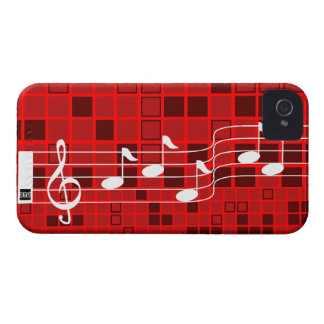 Music Note Mosaic iPhone 4 Case-Mate Case Red