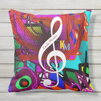 music note on abstract outdoor pillow