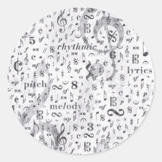 Music Note Pattern Music Theme Classic Round Sticker