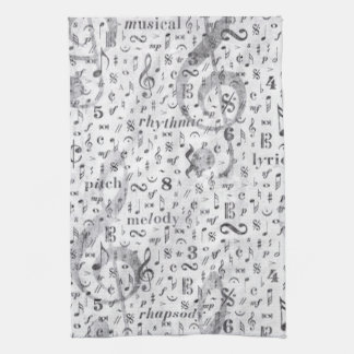 music Note Pattern Music Theme Kitchen Towel