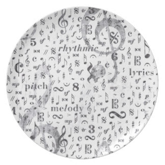 Music Note Pattern Music Theme Plate