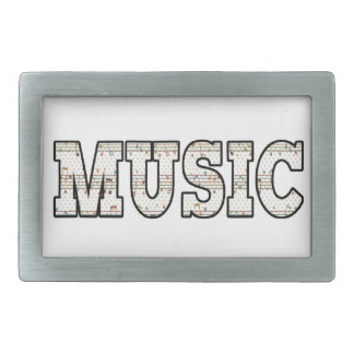 Music Note Text Rectangular Belt Buckles