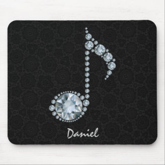 Music Note White Diamonds Over Black Mouse Pad